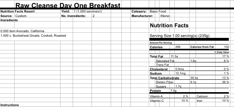 Day 1 Breakfast Groats 3 days to thrive - day 1 AA2 3 Days to Thrive Day 1 Breakfast Groats