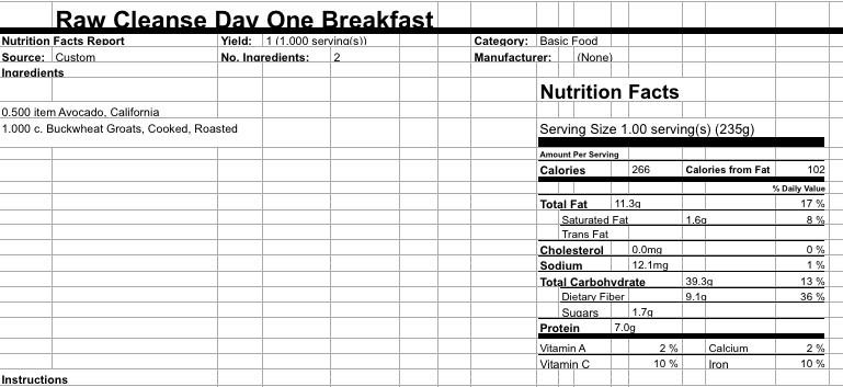 Day 1 Breakfast Groats